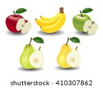set. apples  bananas and pears | Shutterstock .eps vector #410307862