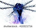 human hand with barbed wire ... | Shutterstock . vector #410321716