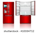 red open and closed fridge.... | Shutterstock .eps vector #410334712