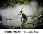 fisher boy hunter fishing gaff... | Shutterstock . vector #410338552