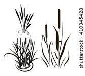 bulrush  sedge. set. silhouette.... | Shutterstock . vector #410345428