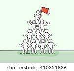 sketch of pyramid with working... | Shutterstock .eps vector #410351836