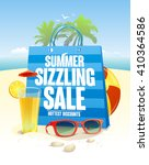 summer sizzling sale with blue... | Shutterstock .eps vector #410364586