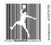 basketball player in a barcode... | Shutterstock .eps vector #410374705