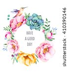 beautiful watercolor round... | Shutterstock . vector #410390146
