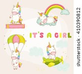 cute unicorn set. baby shower... | Shutterstock .eps vector #410390812