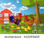 rooster  hen and chicken at the ... | Shutterstock .eps vector #410393605