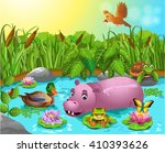 Cartoon Pond With Hippo And...