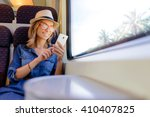 enjoying travel. young pretty... | Shutterstock . vector #410407825