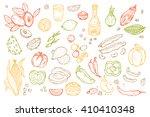 mexico vector set. mexican food ... | Shutterstock .eps vector #410410348
