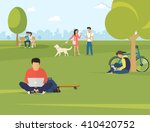 Flat illustration of people using gadgets sitting on the grass in the park. Young guys are using laptop, woman talking her friend and couple sitting on the bench and using smartphone to send messages | Shutterstock vector #410420752
