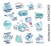 hand drawn watercolor labels... | Shutterstock .eps vector #410421805