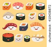 funny sushi characters with... | Shutterstock .eps vector #410438872