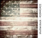 American Flag On Wooden Board