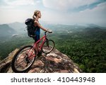 young lady with bicycle... | Shutterstock . vector #410443948