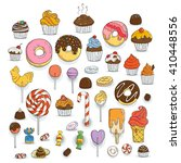 set of candy and muffins icons. ... | Shutterstock .eps vector #410448556