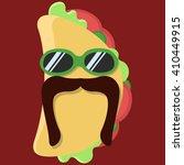 vector taco cartoon with... | Shutterstock .eps vector #410449915
