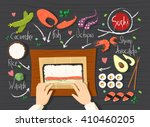 sushi rolls recipe. making... | Shutterstock .eps vector #410460205