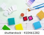 pencils  painting brushes ... | Shutterstock . vector #410461282