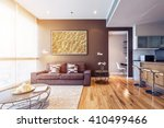 Small photo of living room with big window interior. Big picture on brown wall