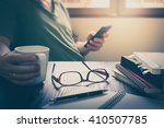 glasses put down on table... | Shutterstock . vector #410507785
