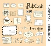 set of hand drawn sketchy post... | Shutterstock .eps vector #410518042