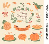 happy thanksgiving set of... | Shutterstock . vector #410540032