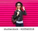 fashion woman in black rock...   Shutterstock . vector #410560318