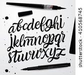 handwritten script font. hand... | Shutterstock .eps vector #410568745