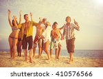 group of people party on the... | Shutterstock . vector #410576566