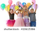 Happy Group Of Children With...