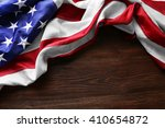 usa national flag on wooden... | Shutterstock . vector #410654872