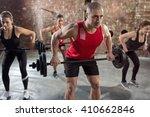 muscular bodybuilders have... | Shutterstock . vector #410662846