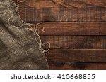 Burlap Texture On Wooden Table...