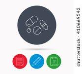 pills icon. medicine tablets or ... | Shutterstock .eps vector #410669542