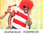 afro american man fan of... | Shutterstock . vector #410698135