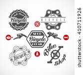 retro bicycle vector labels or... | Shutterstock .eps vector #410711926