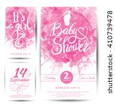 Stock vector vector watercolor pink sticker set it s a girl calligraphy lettering baby shower element for 410739478