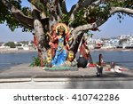 Small photo of Durga Maa Statue on the bank of Pushkar lake