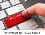 Stock photo complaint concept computer keyboard with complaint button hand touching complaint keypad 410755015