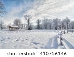 A Snowy Winter Scene In A Park...
