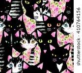 cute cats seamless pattern.  | Shutterstock . vector #410764156