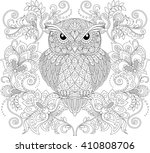 owl and floral ornament. adult... | Shutterstock .eps vector #410808706