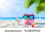 piggy bank with drink on the... | Shutterstock . vector #410849932