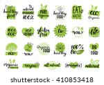 Vector eco, organic, bio logos or signs. Vegan, raw, healthy food badges, tags set for cafe, restaurants, products packaging etc.