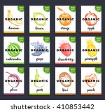 fruits and berries labels. hand ... | Shutterstock .eps vector #410853442