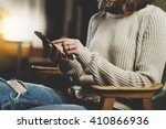 close up image of hipster girl... | Shutterstock . vector #410866936
