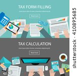 tax form filling and tax... | Shutterstock .eps vector #410895685