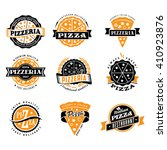 vector pizza logo set of... | Shutterstock .eps vector #410923876