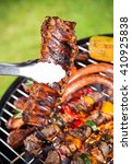 assorted delicious grilled meat ... | Shutterstock . vector #410925838